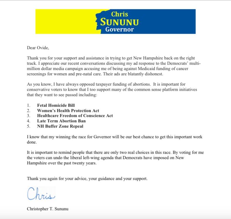 Gov. Chris Sununu message to pro-life voters