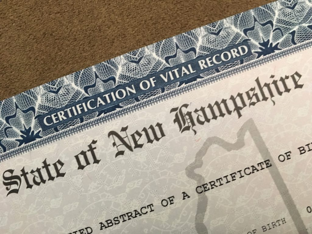 New Hampshire birth certificate heading